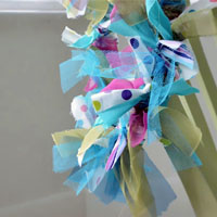 Make a Colourful Christmas Wreath and Garland With Fabric Strips