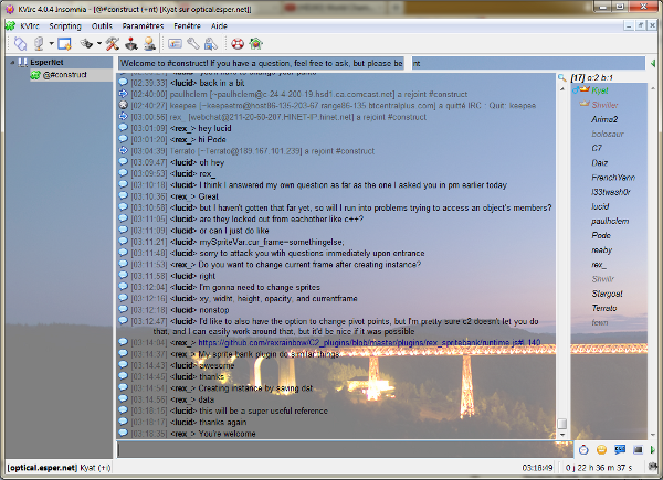 An IRC client displaying #construct on irc.esper.net