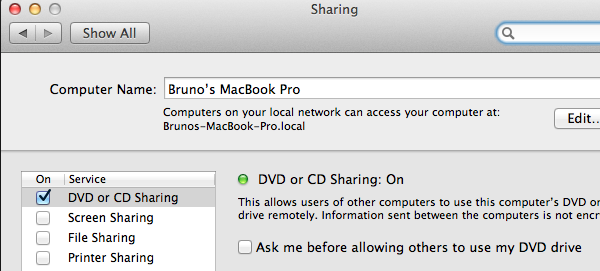DVD or CD Sharing on the Mac