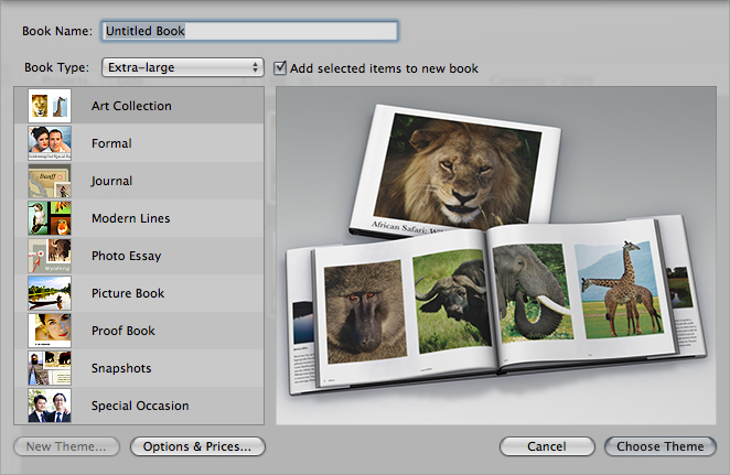 The Photo Book creation menu in Aperture.