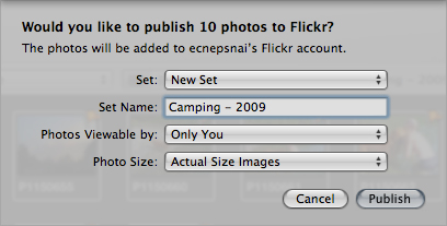 The Flickr sharing menu in Aperture.