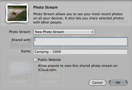 The Photo Stream sharing menu in Aperture.