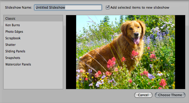 The Slideshow creation menu in Aperture.