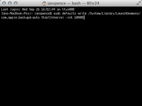 Change Time Machines backup interval with this command.