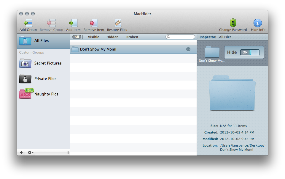 You can hide entire folders along with files in MacHider.