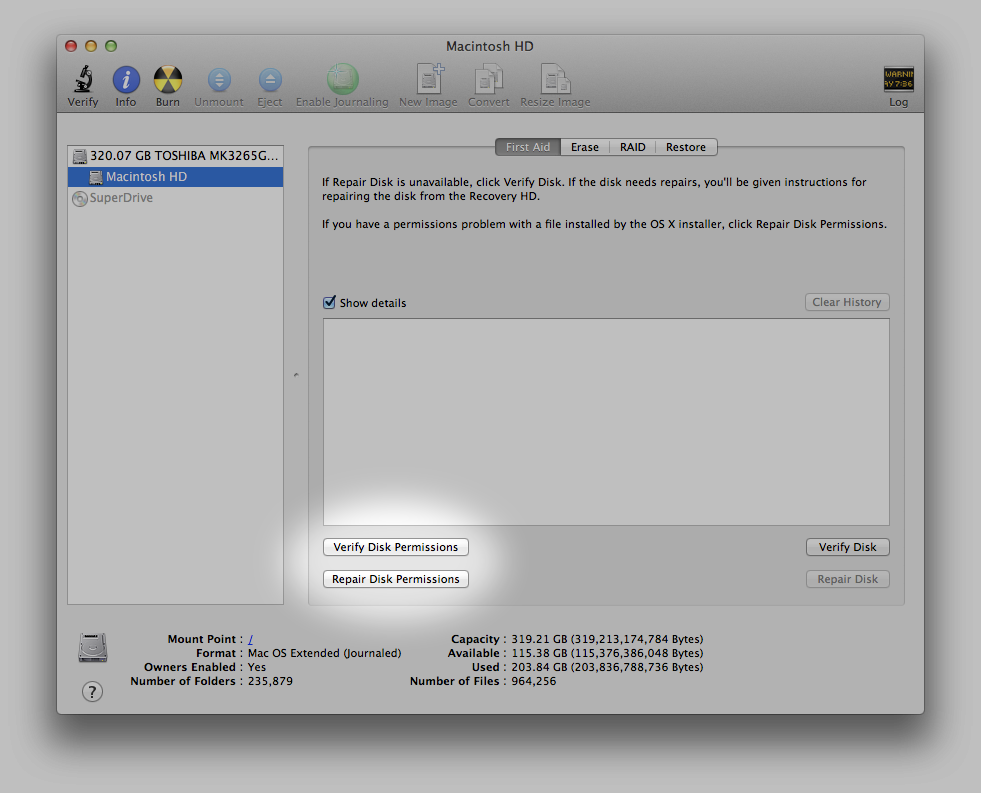 The Disk Permissions Tools inside Disk Utility.