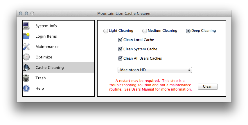 The Cache Cleaning page in Mountain Lion Cache Cleaner.