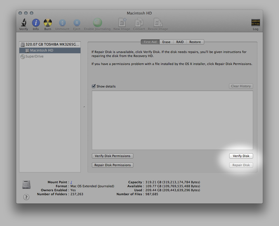 The Disk Verification Tools inside Disk Utility.