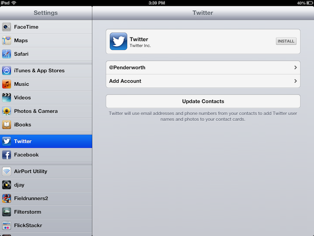 IOS Twitter integration on an iPad.