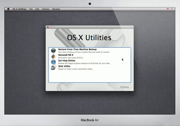 OS X Utilities on the Recovery Partition
