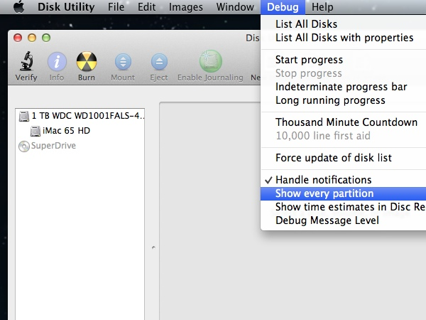 Revealing the Debug Menu in Disk Utility