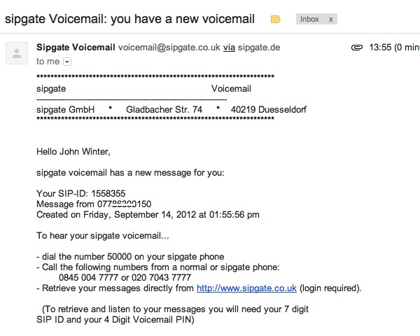 Receive your Voicemails on Email