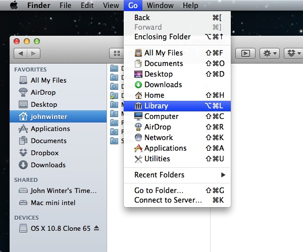 Library from the Finder Go Menu