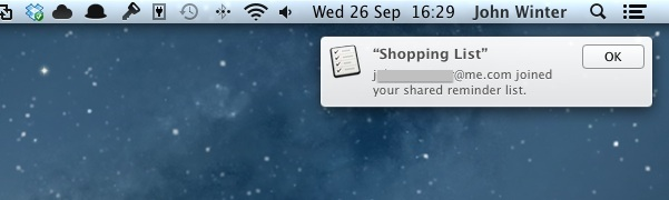 OS X Notification Centre Confirmation