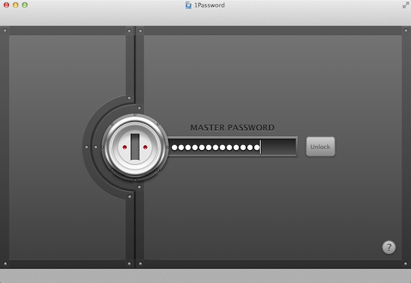 The 1Password Login screen