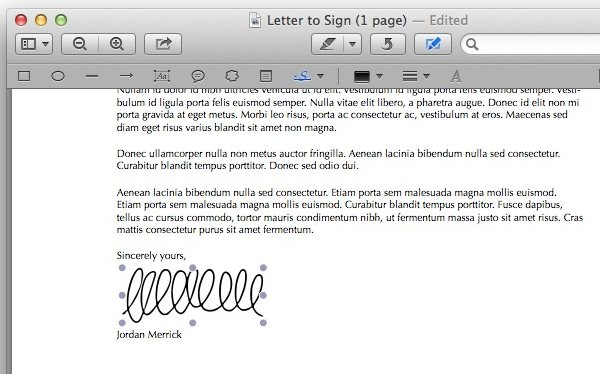 Inserting a signature is just a case of click and dragging.