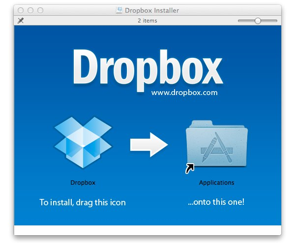 DropBox requires no installation, just drag the app to the Applications folder.