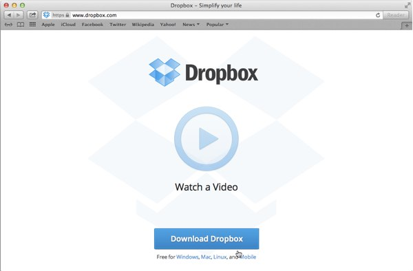 The Dropbox main page is very minimal and makes it really easy to download the app.