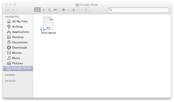 The Google Drive folder is where youd keep any files you want to keep in sync.