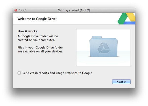 Google Drive only requires a few steps to setup.