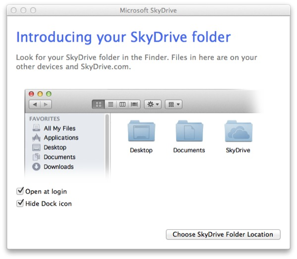 You can opt to have SkyDrive open at login (which should be done if you want to make sure its automatic).