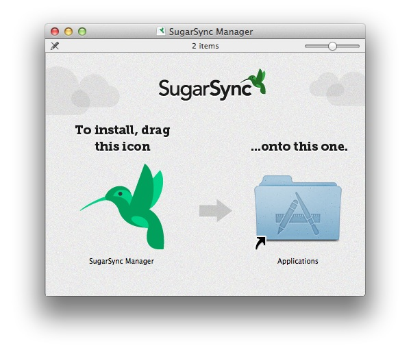 SugarSync also requires no installation, just drag the app to the Applications folder.