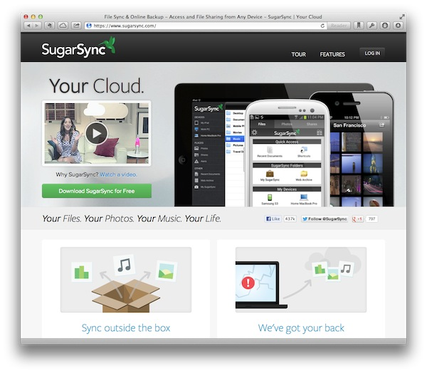 SugarSync has an easy to find download button just like Dropbox and Google Drive.