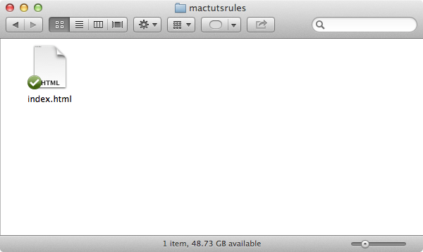 Step 3: Save the document in your mactutsrules folder as index.html (when prompted, select use .html as the file extension)