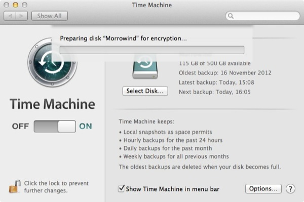 Time Machine can also take a long time to encrypt the drive depending on speed and size