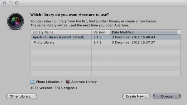 Aperture will display a message to ask you choose a library, click Other Library