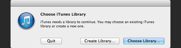 iTunes will display a message to ask you choose a library, click Choose Library