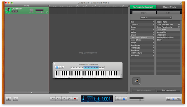GarageBand's main window