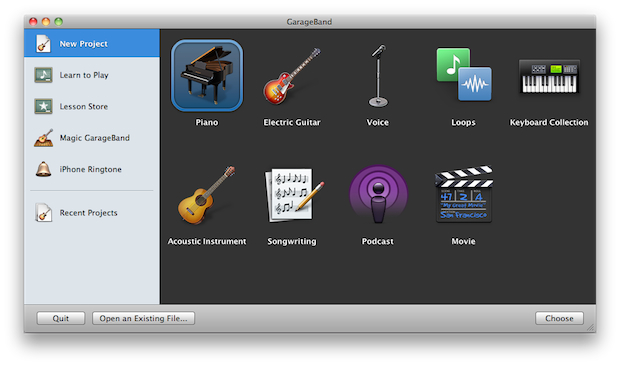 Creating a new project in GarageBand