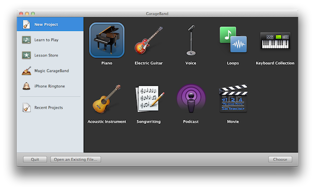 GarageBand&#039;s splash screen