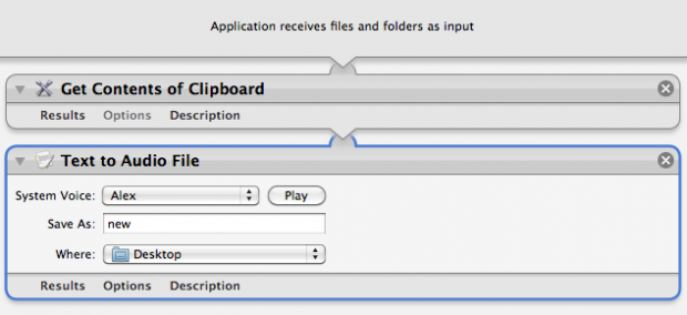 Clipboard to Speech Workflow