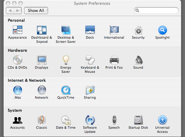 Tiger&#039;s System Preferences should now contain the &#039;Classic&#039; pane