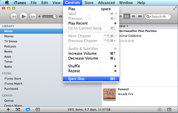 Using the Eject command in iTunes or another application may work when Finder fails.