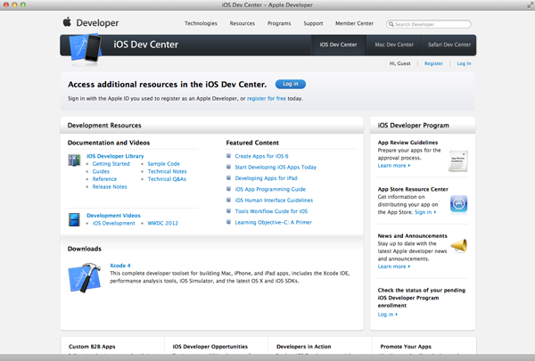 iOS Development Environment - Apple Developer Registration - Figure 1