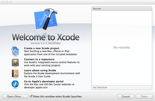 iOS Development Environment - Xcode Welcome Window - Figure 2