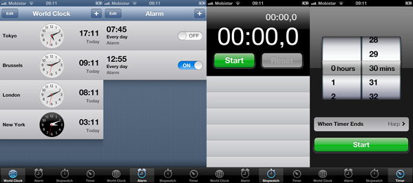 Exploring Tab Bar Controllers - The Clock Application on the iPhone and iPod Touch - Figure 1