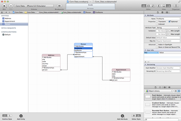 Data Persistence and Sandboxing on iOS - Xcode's Core Data Model Editor - Figure 4