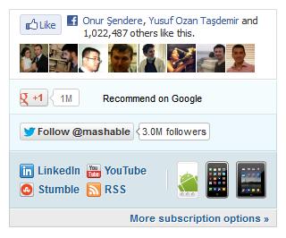 Mashable's social networks widget