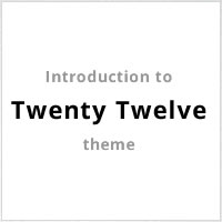 Introduction to the New Twenty Twelve Theme