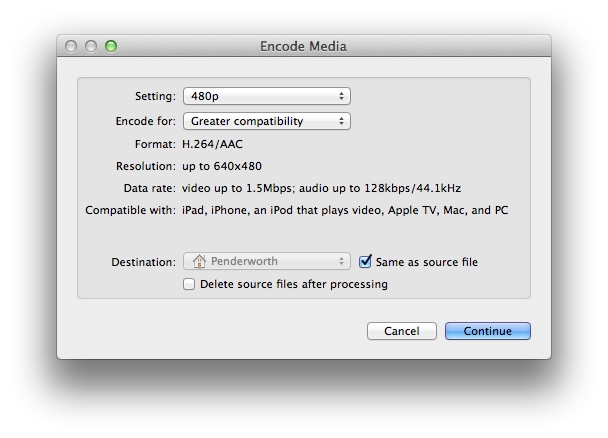 Finder's hidden media encoding window.