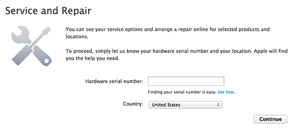 Apple's Service and Repair Page