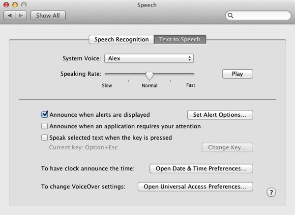 Text-to-Speech Preferences