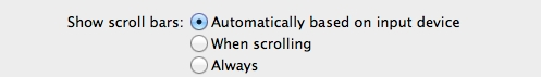 Settings for the scroll bars