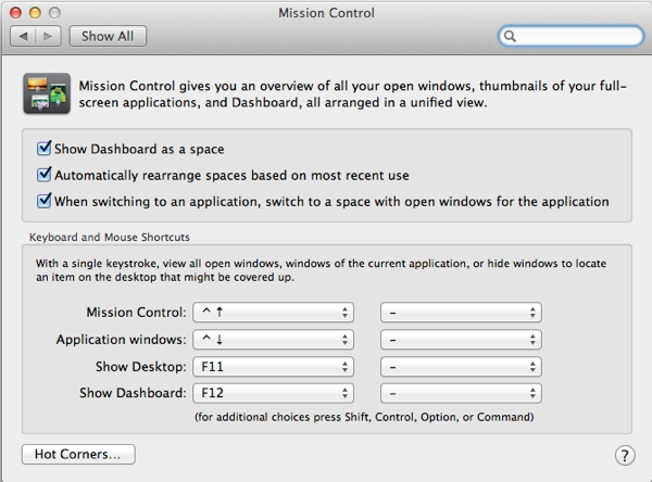 Tweak your Mission Control settings
