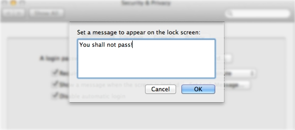 Enter a lock message to either inform or amuse