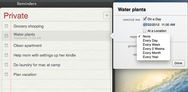Using repeating reminders, so you only have to create a reminders once